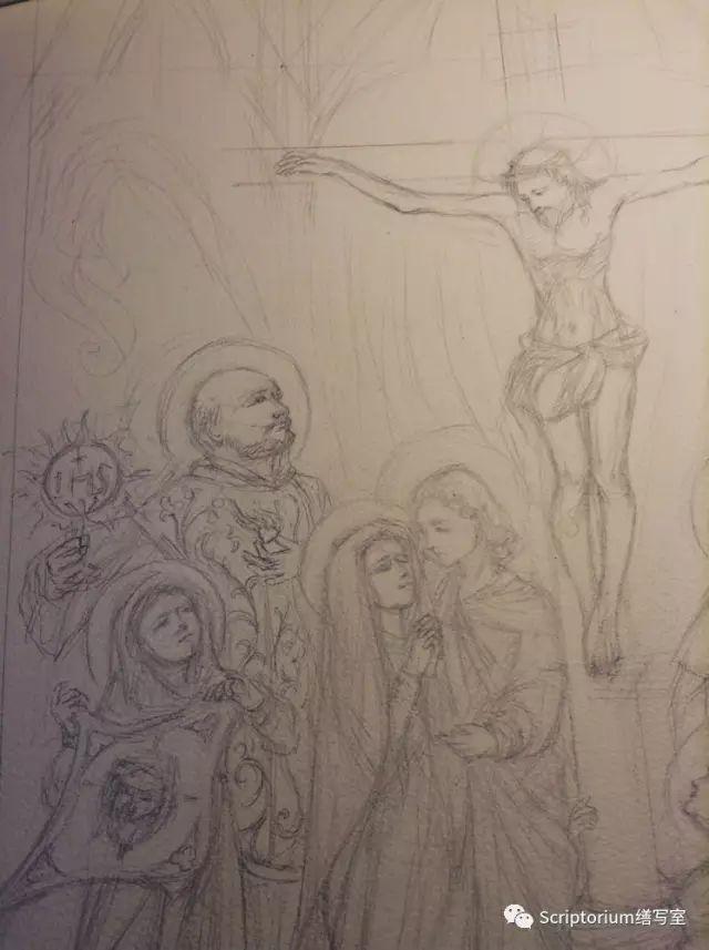 ▲ 中間十架上基督下方,按傳統站著聖母和聖若望,跪在十字架下的是瑪利亞瑪達肋納,帶著她的香膏瓶。她的紀念日自2016年起被提升為慶日等級,與宗徒地位同等。