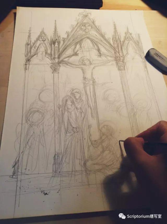 因為構圖較以前複雜,正式稿前需要畫草圖,起小稿是必要的,大約8開尺寸。