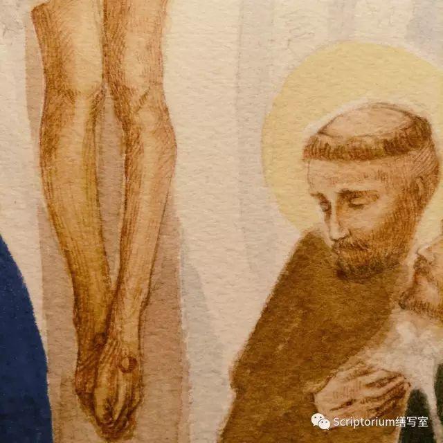 ▲ 終於邁過心理障礙畫了基督的第一層底色。